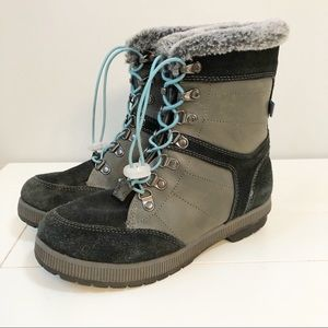 Khombu Janet Faux Fur Winter Boots Grey Black - 7